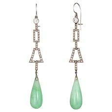 Antique Deco Jade Diamond Earrings 18 Karat White Gold Long Drops Vintage Jewelry