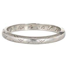 Antique Deco Belais Wedding Band Sz 4.25 18 Karat White Gold Ring Vintage Fine
