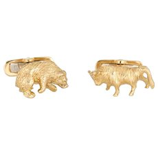 Bull Bear Cufflinks Vintage 18 Karat Gold Stock Market Stockbroker Mens Jewelry