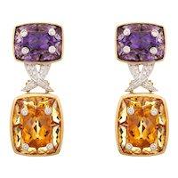 "Amethyst Citrine Earrings Estate 18 Karat Yellow Gold Diamond 1.5"" Drops Jewelry"