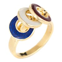 Vintage Nautical Charm Ring 18 Karat Yellow Gold Red White Blue Enamel Tango Sz 6