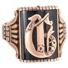 Antique Victorian Letter C Initial Ring Mens Jewelry 14 Karat Rose Gold Square Signet