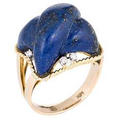 Vintage Lapis Lazuli Ring Fluted Cross 14 Karat Yellow Gold Estate Square Jewelry 6.5