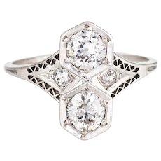 Antique Deco Moi et Toi 2 Diamond Ring Platinum Vintage Fine Jewelry Double 6