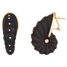 Sioro Ebany Diamond Shell Earrings Sterling Silver Large Shrimp Estate Jewelry