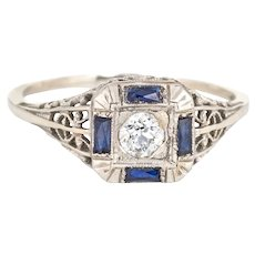 Antique Deco Diamond Sapphire Ring Filigree 14 Karat White Gold Square Fine Jewelry
