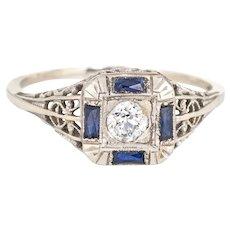 Antique Deco Diamond Sapphire Ring Filigree 14 Karat White Gold Square Fine Jewelry