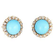 Antique Victorian Diamond Turquoise Halo Earrings Vintage 14 Karat Yellow Gold Fine