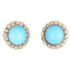Antique Victorian Diamond Turquoise Halo Earrings Vintage 14 Karat Gold Round Rose