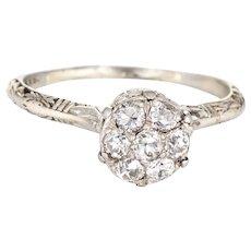 Antique Deco Diamond Cluster Ring Vintage 18 Karat Gold Round Filigree Jewelry Sz 6.5