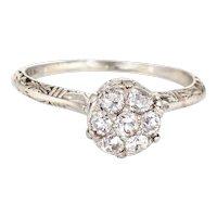Vintage Art Deco Diamond Cluster Ring Vintage 18 Karat Gold Sz 6.5 Filigree Jewelry