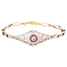 Antique Edwardian Diamond Ruby Bracelet Platinum 14 Karat Gold Vintage Fine Jewelry