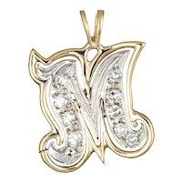 Letter M Initial Pendant Vintage Charm 14 Karat Two Tone Gold Estate Fine Jewelry