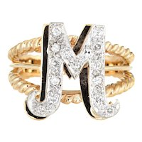 Vintage Letter M Ring 14 Karat Yellow Gold Initial Jewelry Sz 5 Estate Fine Two Tone