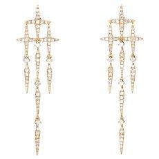 "Diamond Star Drop Earrings Estate 14 Karat Yellow Gold Jewelry 1.75"" Micro Pave"