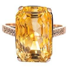 Vintage 12.25ct Golden Citrine Ring 9 Karat Rose Gold Estate Fine Jewelry Sz 6.25