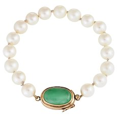 Vintage 8mm Cultured Pearl Jade Bracelet 14 Karat Yellow Gold Estate Fine Jewelry 7""