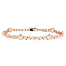 2.70ct Diamond Bracelet 14 Karat Rose Gold Tennis Line Estate Fine Jewelry 7 Inches
