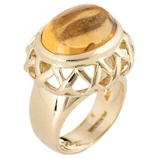 Tiffany & Co Paloma Picasso Citrine Ring Vintage 18 Karat Yellow Gold East West 5.75