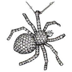 Vintage Spider 4.50ct Diamond Pendant Necklace Blackened 10 Karat White Gold Fine Jewelry Bug