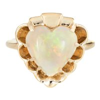 Natural Opal Heart Ring Vintage 14 Karat Yellow Gold Estate Fine Cocktail Jewelry 6