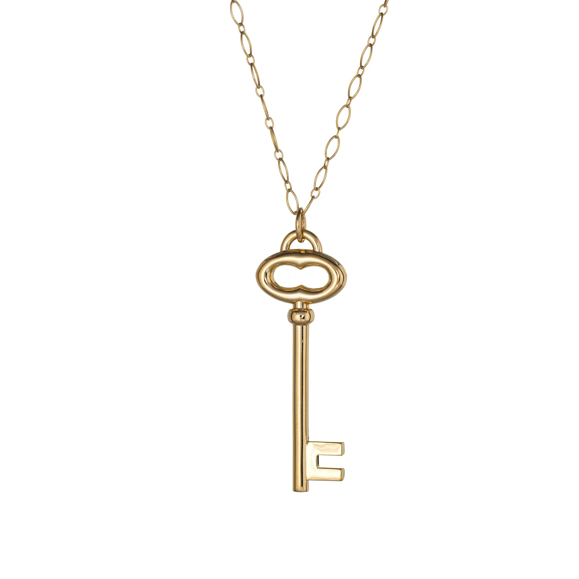 Tiffany Co Large Key Pendant Necklace 18 Karat Yellow Gold 20 5 Sophie Jane Ruby Lane