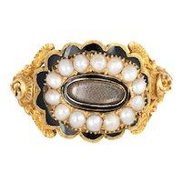 Antique Georgian Era Ring c1825 18 Karat Yellow Gold Memorial Hair Jewelry Sz 7