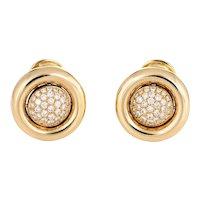 Chopard Diamond Earrings Movable Day Night 18 Karat Yellow Gold Estate Jewelry