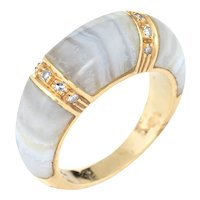 Banded Agate Diamond Ring Vintage 18 Karat Yellow Gold Dome Band Jewelry Stacking