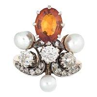 Antique Victorian Tiara Ring Citrine Diamond Pearl 14 Karat Yellow Gold Silver Sz 4