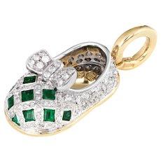 Aaron Basha Diamond Emerald Shoe Charm 18 Karat Yellow Gold Estate Gemstone Jewelry