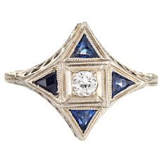 Vintage Art Deco Diamond Sapphire Ring Star Point 18 Karat White Gold Antique Jewelry