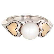 Cartier Cultured Pearl Ring Vintage Hearts 18 Karat Gold Sterling Silver 5.25 Estate