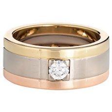 Vintage Cartier Diamond Band Sz 53 6 1/4 18 Karat Tri Gold Wedding Ring Fine Jewelry