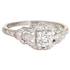 Antique Deco Diamond Engagement Ring Sz 5.75 Fine Vintage Embossed Platinum