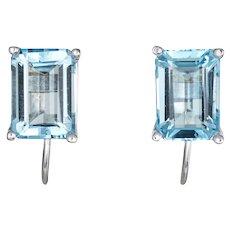 3ct Blue Topaz Earrings Estate 14 Karat White Gold Emerald Cut Jewelry Screw Backings
