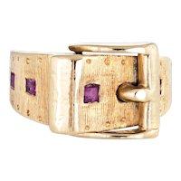 Vintage Ruby Buckle Ring 14 Karat Yellow Gold Sz 4 Pinky Estate Fine Jewelry Belt