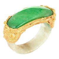 Jade Bridge Ring Vintage 22k Yellow Gold Sz 5.25 Dragon Estate Fine Jewelry