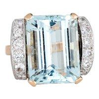 12ct Aquamarine Diamond Ring Vintage 18 Karat Yellow Gold Platinum Cocktail Jewelry
