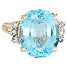 12ct Blue Topaz Diamond Ring Estate 14 Karat Yellow Gold Oval Cut Cocktail Jewelry