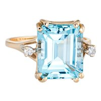 Square Blue Topaz Diamond Ring Vintage 14 Karat Yellow Gold Estate Cocktail Jewelry