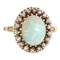 Antique Victorian Opal Diamond Ring Vintage 10 Karat Yellow Gold Oval Fine Jewelry