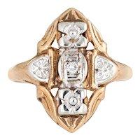 Vintage Diamond Shield Ring 14 Karat Two Tone Yellow Gold Estate Fine Jewelry Sz 7.25