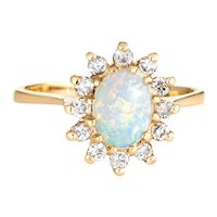 Natural Opal Diamond Ring Vintage 14 Karat Yellow Gold Princess Jewelry Fine Estate