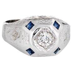 Vintage Art Deco Diamond Sapphire Ring Mens Antique Jewelry 14 Karat White Gold 8.75