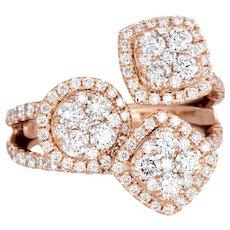 1.76ct Diamond Mosaic Ring 14 Karat Rose Gold Cocktail Jewelry Estate Fine Sz 4.5