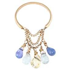 Briolette Amethyst Quartz Charm Ring Estate 14 Karat Yellow Gold Sz 5.5 Jewelry