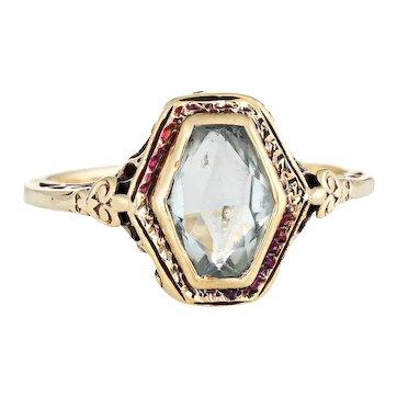 Antique Deco Aquamarine Ring Vintage 14 KaratYellow Gold Vintage Fine Jewelry Sz 7