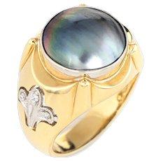 Mens Mabe Pearl Diamond Ring Fleur de Lis Sz 10.5 Vintage Fine Jewelry Estate