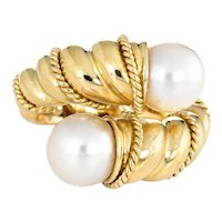 Tiffany & Co Bypass Ring Vintage Cultured Pearl 18 Karat Yellow Gold Rope Twist Sz 5
